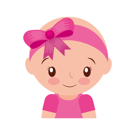 happy and smiling baby girl adorable vector illustration Çizim