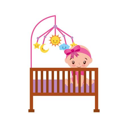 meisje met mobiele speelgoed kinderbedje baby douche meubilair baby symbool vectorillustratie