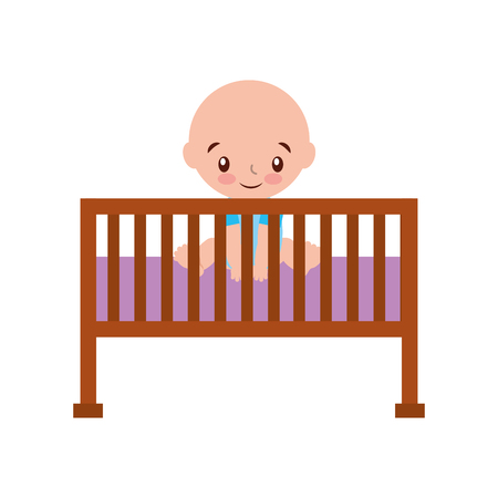 boy cot baby shower furniture infant symbol vector illustration