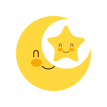 baby shower moon and star cartoon decoration vector illustration 向量圖像