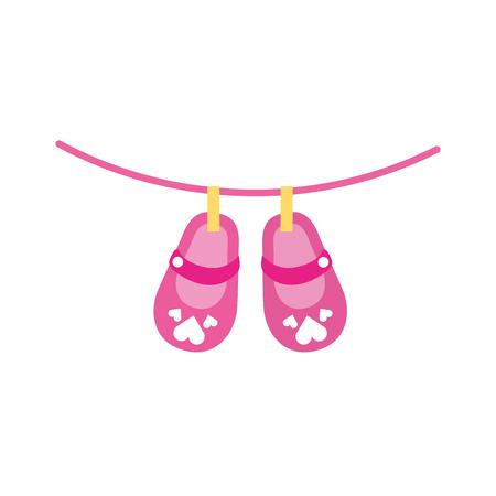 귀여운 소녀 신발 베이비 샤워 장식 축하 벡터 일러스트 레이션 일러스트