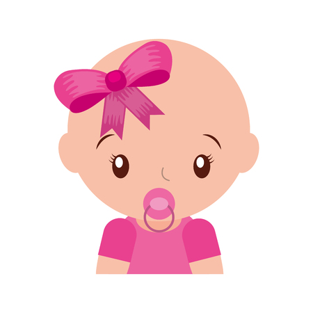 happy baby girl with pacifier adorable vector illustration