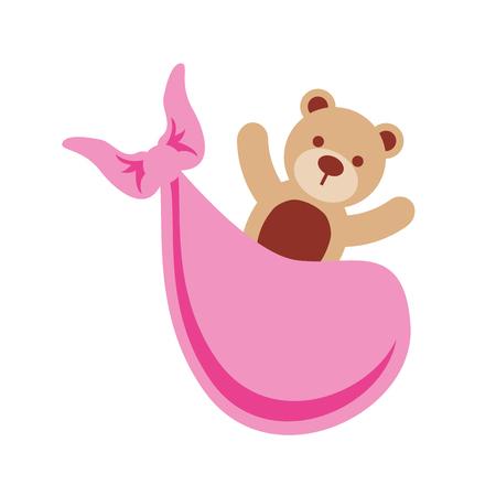 pink bear toy in blanket baby shower celebration vector illustration Ilustração