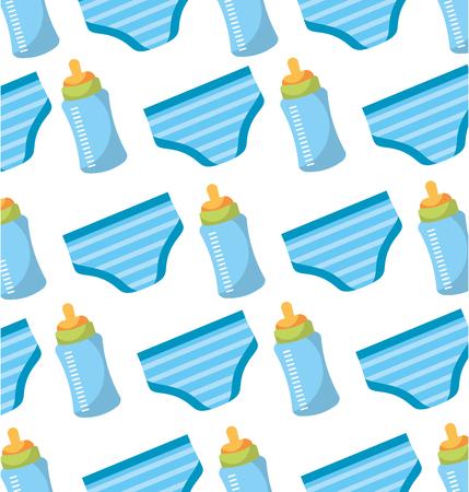ベビーシャワーボトルとショーツパンティーシームレスパターンデザインベクトルイラスト  イラスト・ベクター素材
