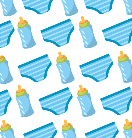 baby shower bottle and shorts panties seamless pattern design vector illustration Illustration
