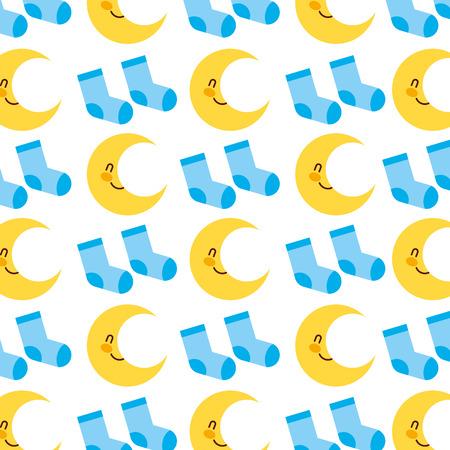 baby shower sokken en maan decoratie naadloze patroon ontwerp vectorillustratie Stock Illustratie