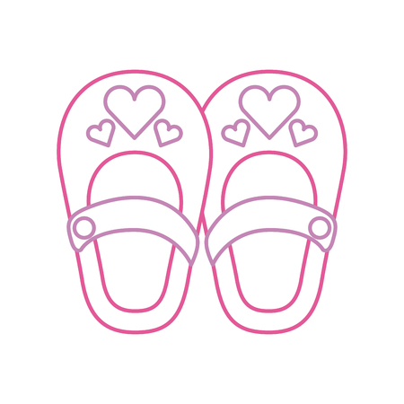 cute girl shoes baby shower decoration celebration vector illustration Stock fotó - 85458227