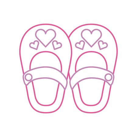 Süße Mädchen Schuhe Baby Dusche Dekoration Feier Vektor-Illustration Standard-Bild - 85458227