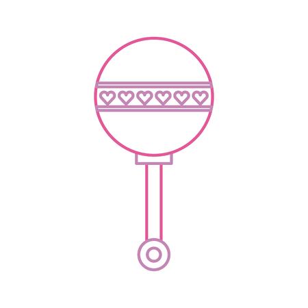 baby douche rammelaar speelgoed cadeau pictogram vectorillustratie