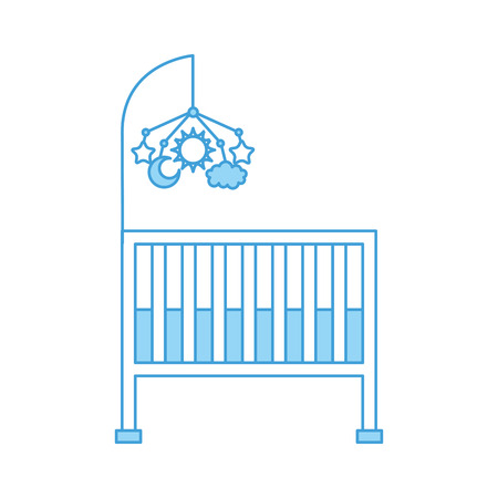 cot baby shower with mobile toy furniture infant symbol vector illustration
