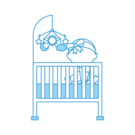 nursing clothes: cute girl cot baby shower and toy mobile furniture infant symbol vector illustration Illustration