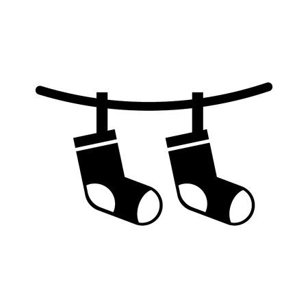 de groet sokken die van de babydouche de vectorillustratie van de viering hangen Stock Illustratie