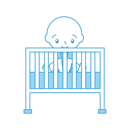 boy and cot baby shower furniture infant symbol vector illustration