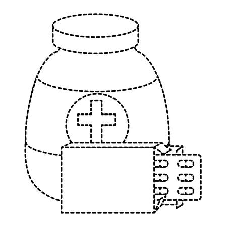 capsules drugs with bottle vector illustration design