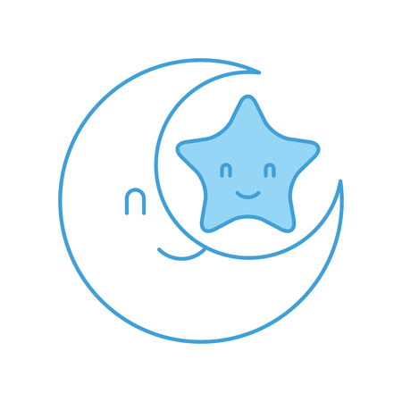 baby shower moon and star cartoon decoration vector illustration Çizim