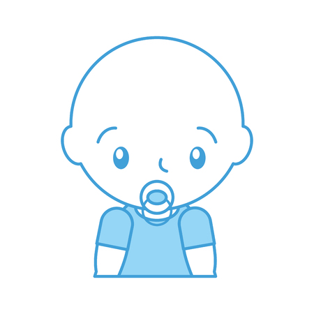 baby shower boy with pacifier celebration image vector illustration Çizim