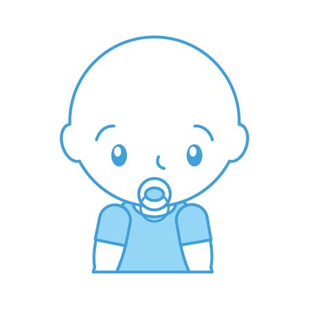 baby shower boy with pacifier celebration image vector illustration Illustration