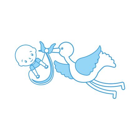 ベビーの男の子とバッグ到着画像ベクトルイラストでコウノトリ 写真素材 - 85458343