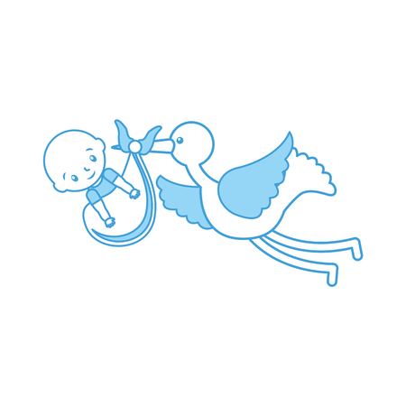 stork with a baby boy in a bag arrival image vector illustration Illustration