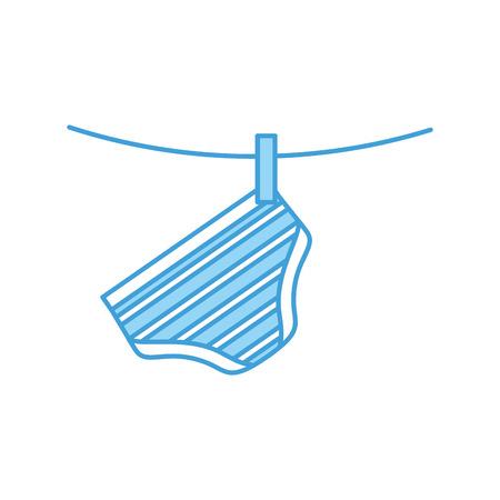 baby shower clothes hanging line celebration vector illustration Çizim
