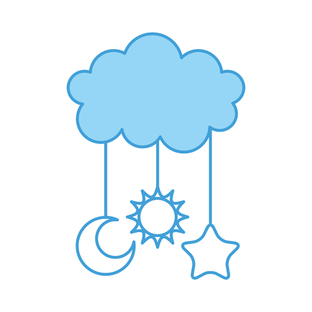 cute cloud and star moon sun baby shower decoration vector illustration