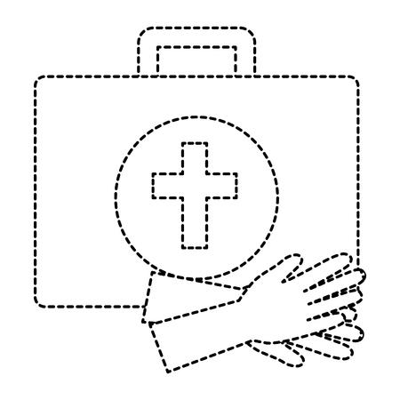 medical kit with gloves vector illustration design Illustration