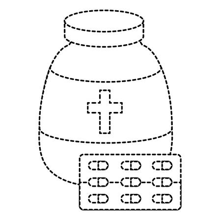 pharmacy symbol: capsules drugs with bottle vector illustration design