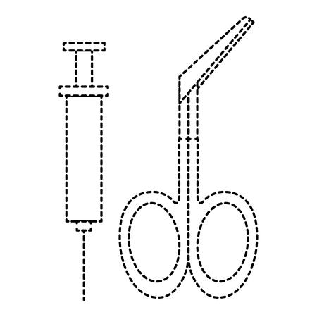 surgical scissors with injection vector illustration design Ilustração