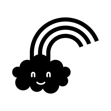 만화 귀여운 무지개 구름 베이비 샤워 이미지 벡터 일러스트 레이션