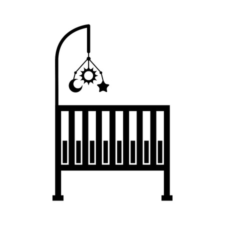 cot baby shower furniture mobile toy infant symbol vector illustration Illustration