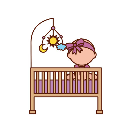 nursing clothes: girl with mobile toy cot baby shower furniture infant symbol vector illustration Illustration