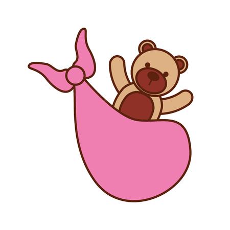 pink bear toy in blanket baby shower celebration vector illustration Illustration