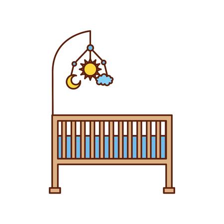 cot baby shower speelgoed mobiele meubels baby symbool vectorillustratie Stock Illustratie
