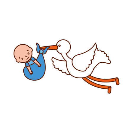 stork with a baby boy in a bag arrival image vector illustration Иллюстрация