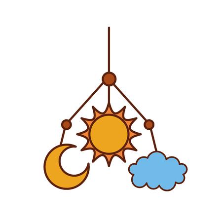 babygirl: newborn toy mobile for baby shower invitation vector illustration Illustration