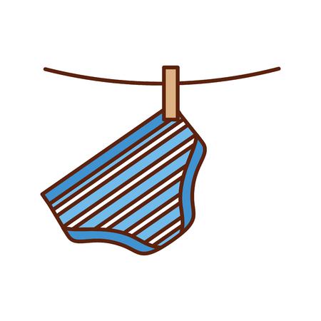 Baby douche kleding hangende lijn viering vector illustratie Stockfoto - 85458433