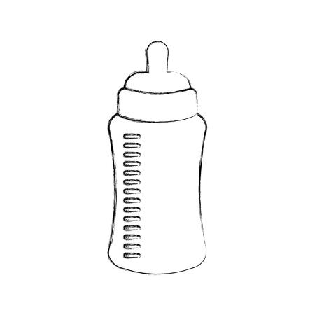 Baby-Dusche-Flasche Milch wenig dekorative Vektor-Illustration Standard-Bild - 85458438
