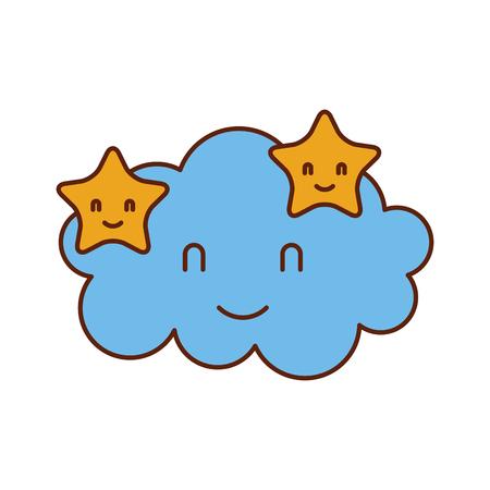 cartoon schattige wolk sterren baby shower afbeelding vector illustratie