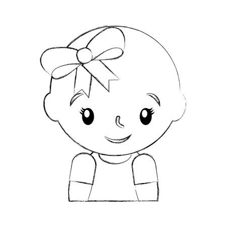 幸せと笑顔の赤ちゃん女の子の愛らしいベクトル イラスト  イラスト・ベクター素材