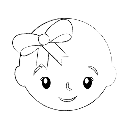幸せで笑顔の女の赤ちゃん愛らしいベクトルイラスト