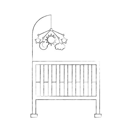 Kinderbedje baby douche mobiel speelgoed meubels baby symbool vectorillustratie