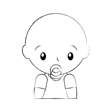 baby shower boy with pacifier celebration image vector illustration Ilustração