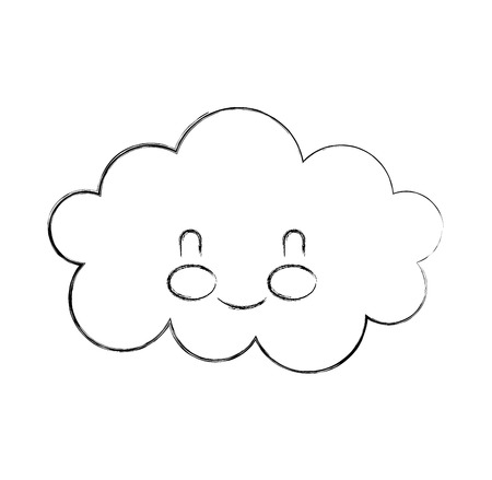 cartoon schattige wolk baby douche afbeelding vectorillustratie