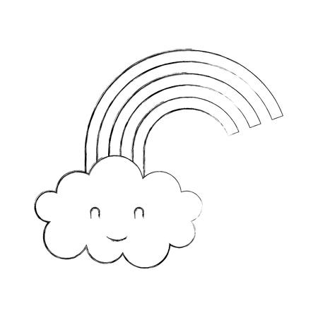 cartoon schattige regenboog wolk baby douche afbeelding vectorillustratie