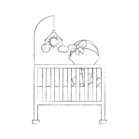 girl with mobile toy cot baby shower furniture infant symbol vector illustration 向量圖像