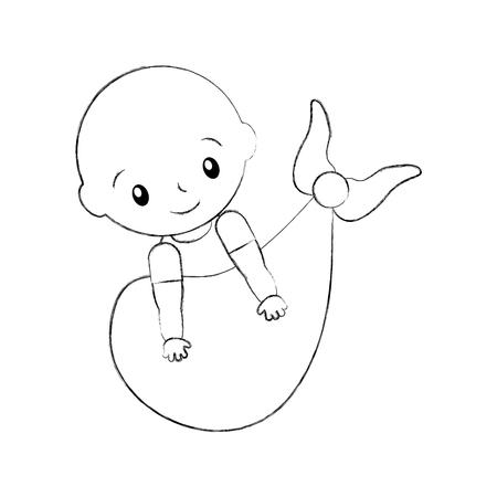 baby shower boy childhood on blanket arrival vector illustration 向量圖像