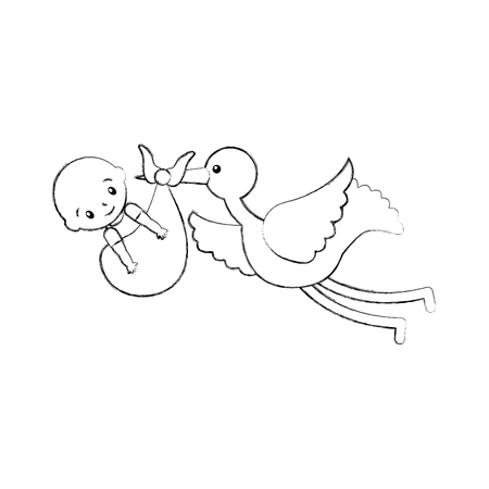stork with a baby boy in a bag arrival image vector illustration Ilustração