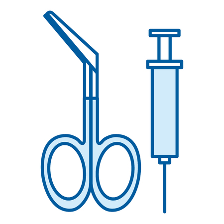 surgical scissors with injection vector illustration design 向量圖像