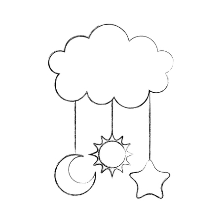 Cute cloud, star, moon and sun - baby shower decorations Ilustracja