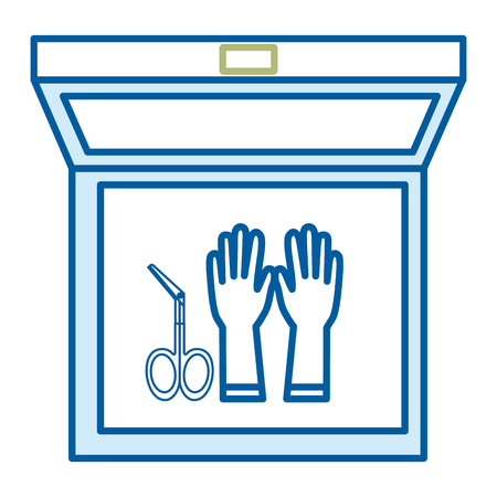 Medical kit with gloves and surgical scissors Illustration